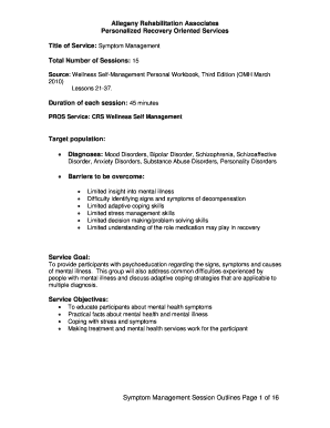 Symptom Management Mental Health Worksheet
