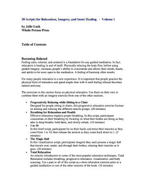 lake meditation script - Printable Forms & Document