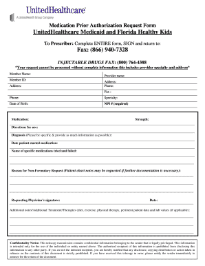 UnitedHealthcare Medicaid And Florida Healthy Kids. UnitedHealthcare  Medicaid And Florida Healthy Kids Medication Prior Authorization Request  Form ...