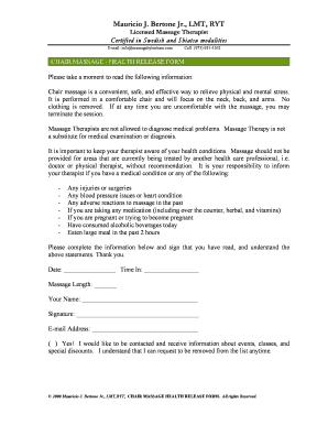 Fillable Chair Massage Release Form Edit Online Download Samples