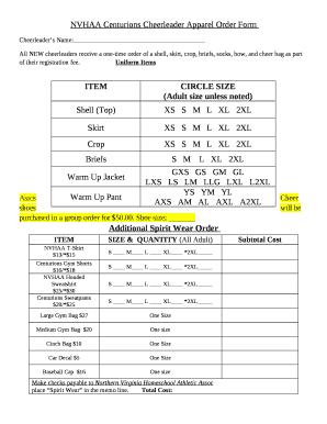 Nvhaa Centurions Cheerleader Apparel Order Doc Template