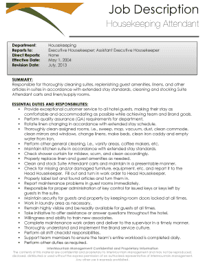Editable executive housekeeper cover letter example - Fillable ...