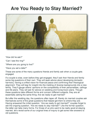 Printable are we ready to get married Form to Submit Online | pre