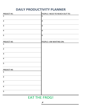 picture relating to Productivity Planner Templates identified as each day efficiency planner - Fillable Printable On the internet