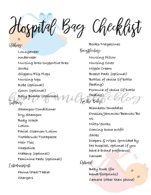 image regarding Printable Hospital Bag Checklist known as Editable clinic bag list down load - Fillable