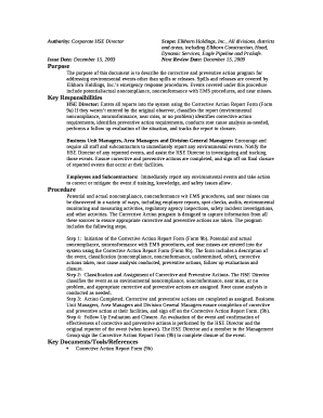 Authority: Corporate HSE DirectorScope: Elkhorn Holdings, Inc Doc