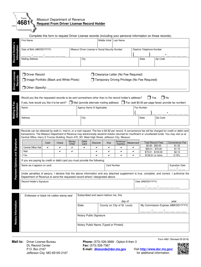 Missouri Driving Record >> 2018 Form Mo Dor 4681 Fill Online Printable Fillable