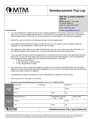 fillable online mtm attention trip logs fax email print pdffiller