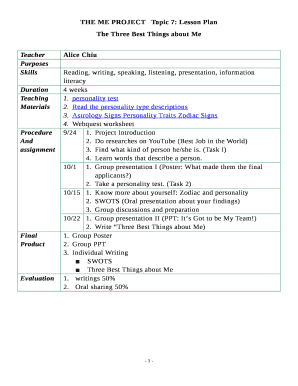 Fillable Online THE ME PROJECTTopic 7: Lesson Plan Fax Email Print