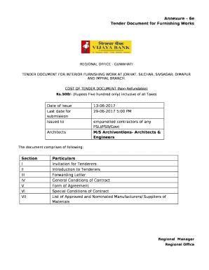 Tender Document for Furnishing Works Doc Template | PDFfiller
