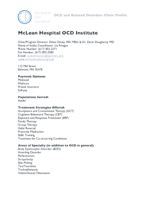 Fillable Online McLean Hospital OCD Institute Fax Email