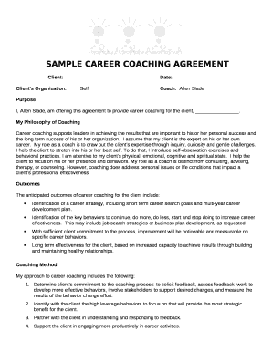 career coaching agreement template doc template pdffiller. Black Bedroom Furniture Sets. Home Design Ideas