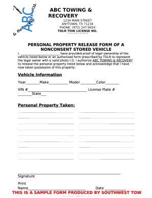 PERSONAL PROPERTY RELEASE FORM OF A Fill Online, Printable, Fillable