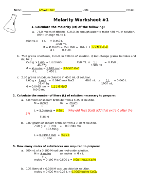 Fillable Online Molarity Worksheet #1 Fax Email Print - PDFfiller
