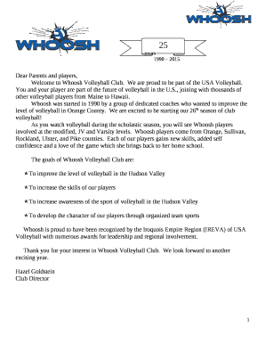ef31c3e4ed8 Fillable Online Welcome to Whoosh Volleyball Club Fax Email Print ...