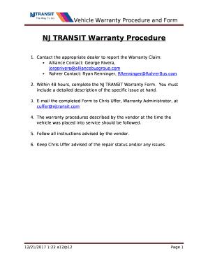 nj transit warranty procedure doc template pdffiller. Black Bedroom Furniture Sets. Home Design Ideas