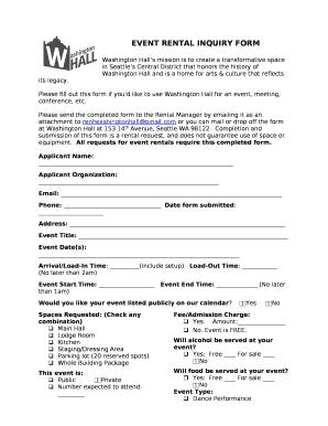 event rental inquiry doc template pdffiller. Black Bedroom Furniture Sets. Home Design Ideas