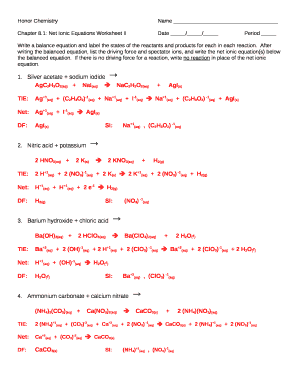1: Net Ionic Equations Worksheet IIDate //Period Doc ...