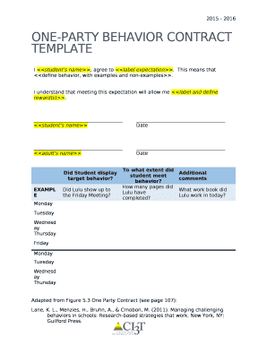 Fillable behavior contract template edit online download best one party behavior contract template pronofoot35fo Image collections