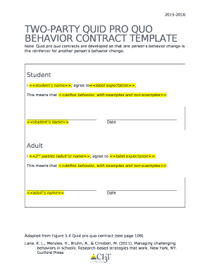 Fillable behavior contract template edit online download best two party quid pro quo behavior contract template pronofoot35fo Image collections