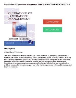 Fillable Online Foundations of Operations Management (Book