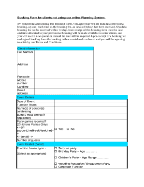 Booking Form for clients not using our online Planning System