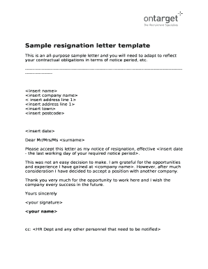 Fillable online sample resignation letter template fax email print fill online spiritdancerdesigns Image collections