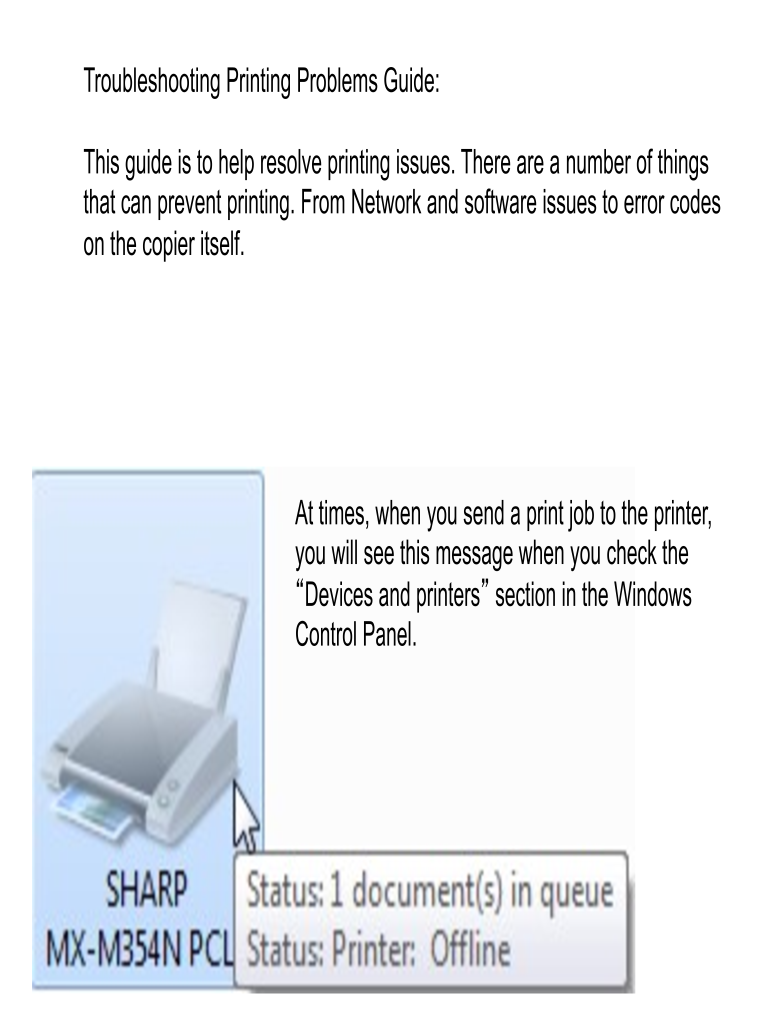 Fillable Online Troubleshooting Printing Problems Guide: Fax