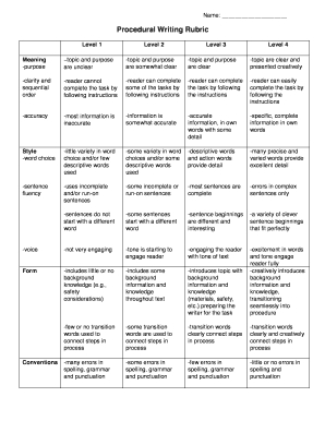 Procedural Writing Rubric Fill Online Printable Fillable Blank - Procedural writing template