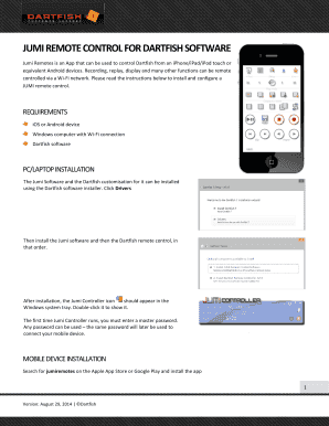 JUMI REMOTE CONTROL FOR DARTFISH SOFTWARE Fill Online, Printable