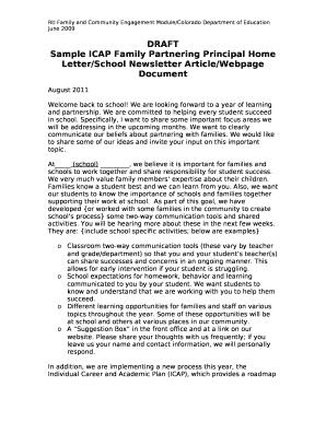 Sample ICAP Family Partnering Principal Home Letter/School