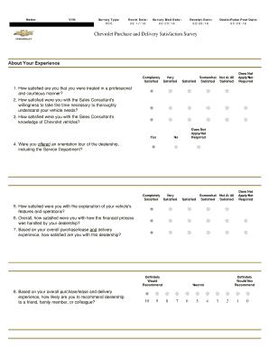 Submit delivery satisfaction survey form templates online in pdf jackie l morgan namejackie l morgan vin1g1je6sb5g4103336 survey typepds event date031716 survey mail date032516 receipt datedealerpulse post pronofoot35fo Choice Image