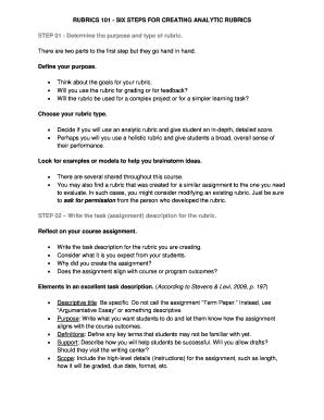 RUBRICS 101 - SIX STEPS FOR CREATING ANALYTIC RUBRICS Fill Online ...