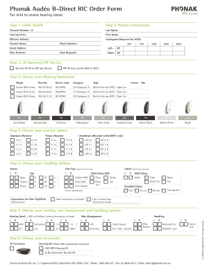 Fillable Online Phonak Audo B Direct Ric Order Form Fax Email Print