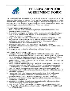 Fellow Mentor Agreement Doc Template Pdffiller
