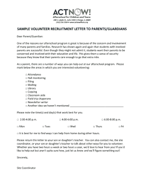 Sample volunteer recruitment letter to parentsguardians fill online preview of sample recruitment altavistaventures Gallery