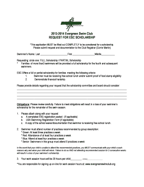 Fillable Online REQUEST FOR ESC SCHOLARSHIP Fax Email Print - PDFfiller