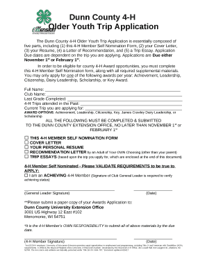 The Dunn County 4 H Older Youth Trip Application Is Essentially Composed Of  Five Parts