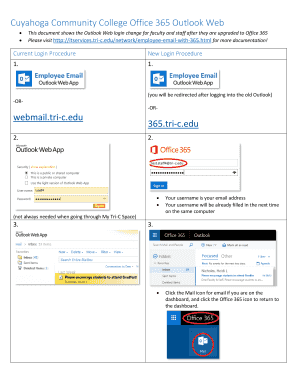 Fillable Online Cuyahoga Community College Office 365 Outlook Web