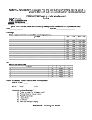 Tool-2Y2L: Template for 4-H program: Pre- and post