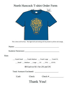 North Hancock T Shirt Order Doc Template Pdffiller