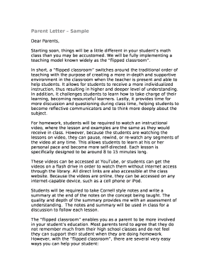 Fillable sample letter to parents from teacher about