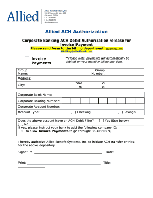 Allied ACH Authorization Doc Template | PDFfiller