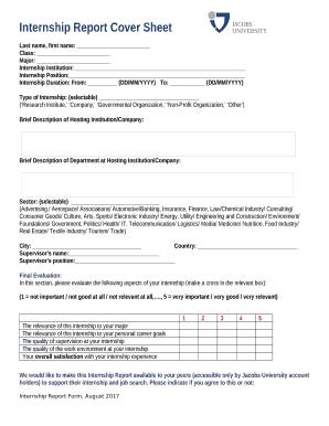 Internship Report Cover Sheet Doc Template   PDFfiller