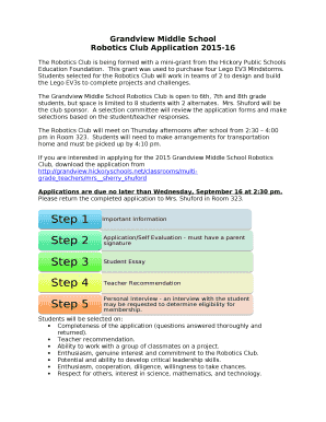 Robotics Club Application 2015-16 Doc Template | PDFfiller