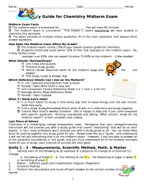 Study Guide for Chemistry Midterm Exam Doc Template   PDFfiller