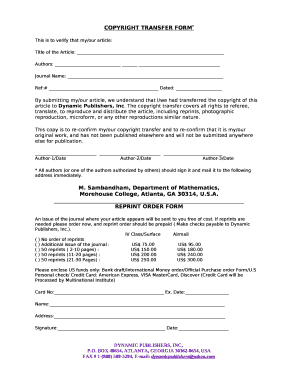 Copyright Transfer Form Edit Fill Out Print Download