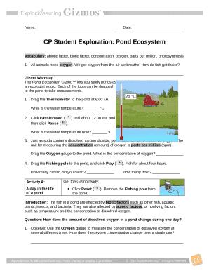 student exploration pond ecosystem answer key pdf Doc ...