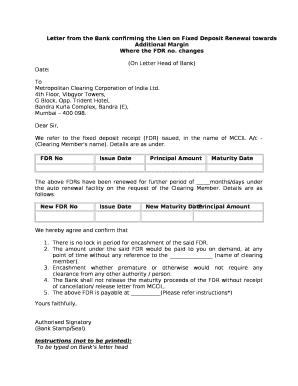Letter from the bank confirming the lien on fixed deposit renewal ltd altavistaventures Images