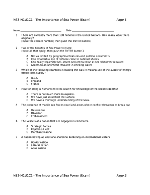 NS3-M1U1C1 - The Importance of Sea Power (Exam)Page 1 Doc Template